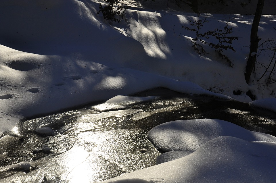 Winter, Water, Ice, White, Torrent, Snow, Snowy, Cold