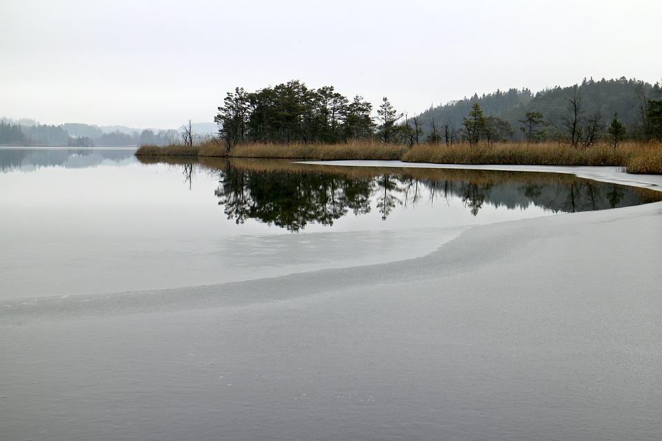 Nature, Lake, Waters, Winter, Ice, Frozen, Eingeeist