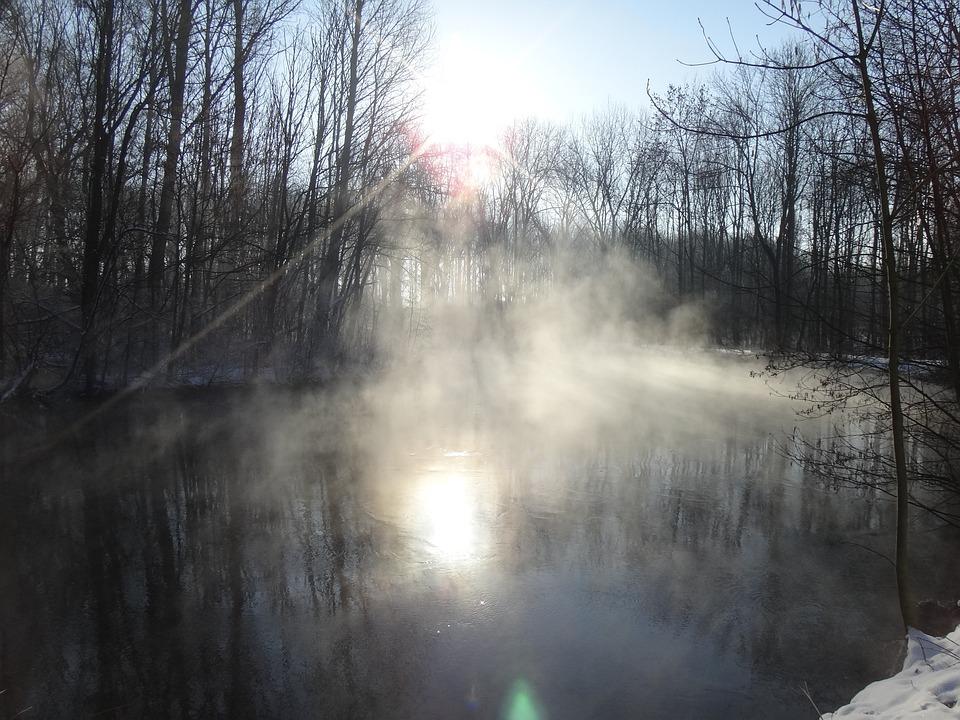 Winter, Ice, Lake, Haze, Waters, Pond, Steamy Water
