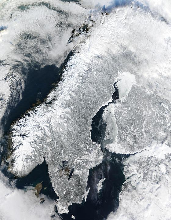 Scandinavia, Norway, Winter, Iced, Satellite Image