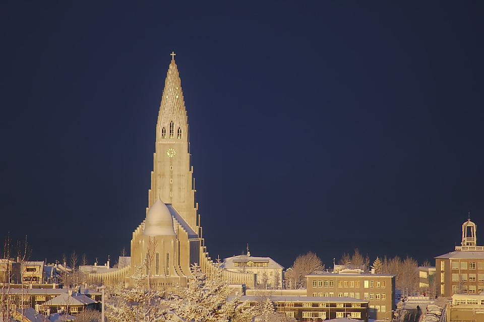 Church, White, Winter, Snow, Blue, Cold, Iceland