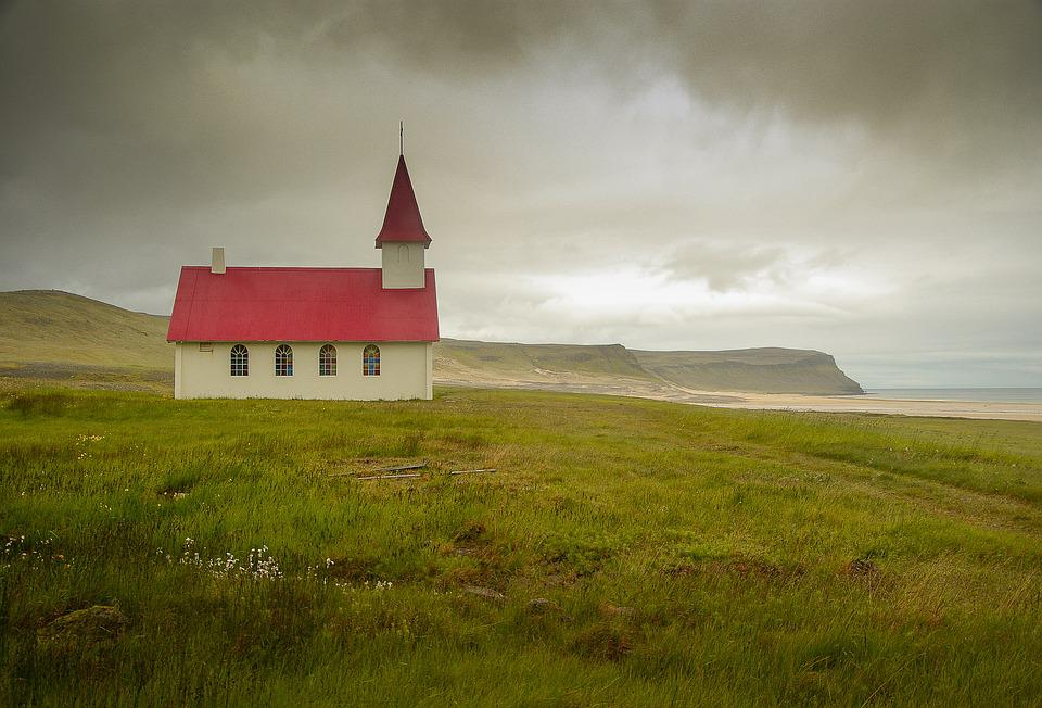 Iceland, Breidavik, Church, Cliff
