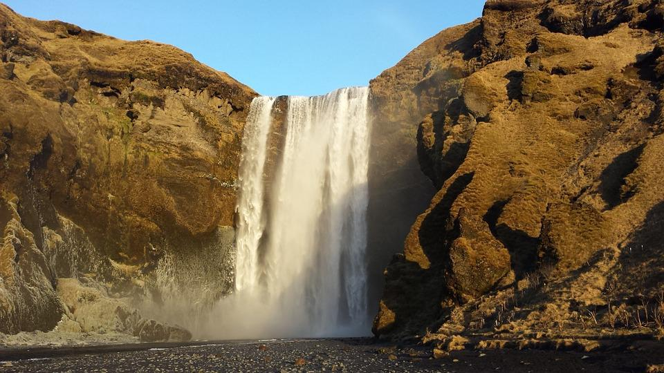 Waterfall, Cliffs, Iceland, Nature, Pur, Landscape