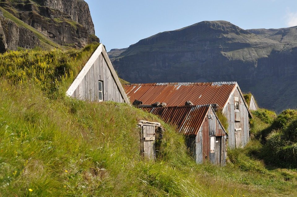 Iceland, Torfhaus, Grass Roof, Hut, Building