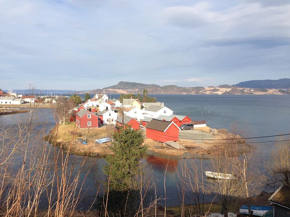 Børsøra, Trøndelag, Peninsula, Iceland, Town, Houses