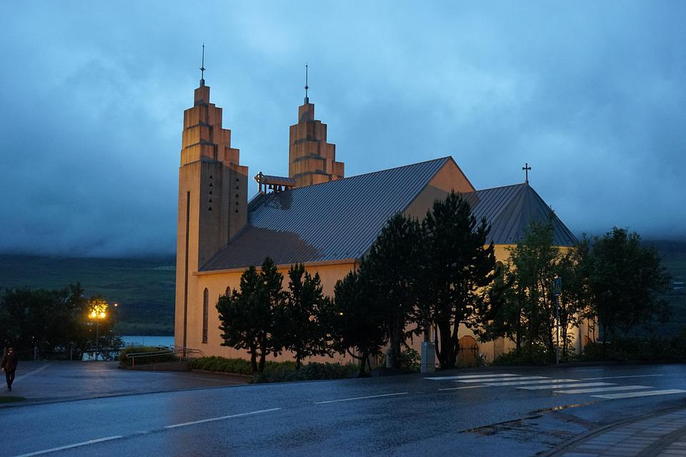 Akureyri, Church, Iceland, Abendstimmung, Illuminated