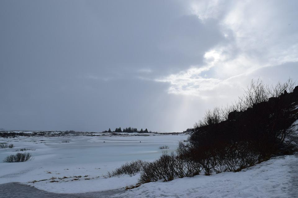 Iceland, Snow, Landscape, Sun Breaking, Clouds