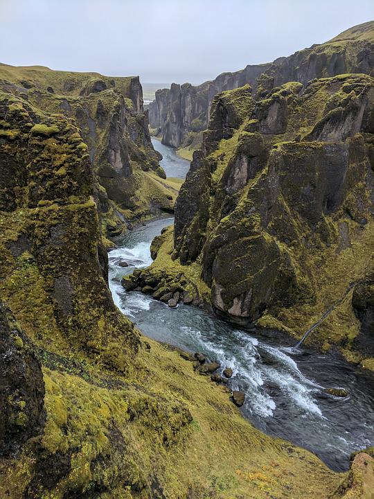 Iceland, River, Cliffs, Water, Flowing Water, Mountains