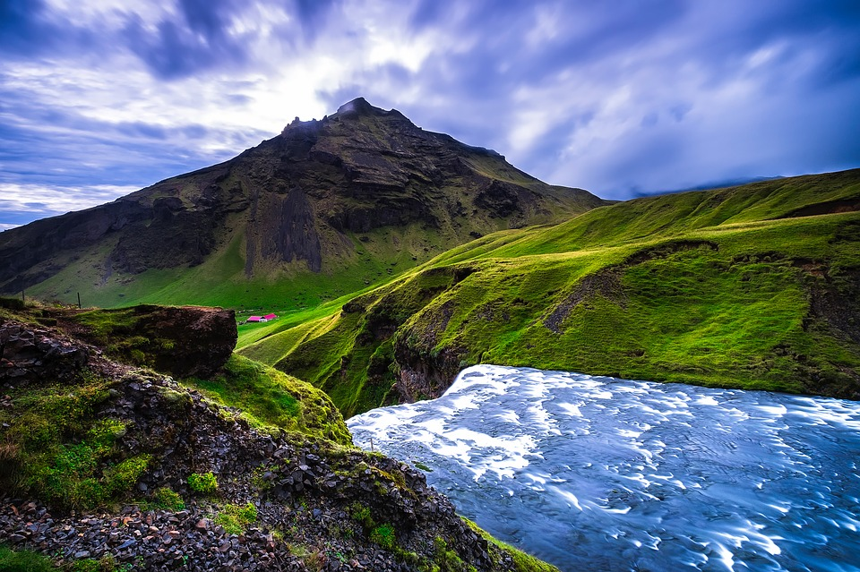 Iceland, Mountains, Sky, Clouds, River, Stream, Rapids