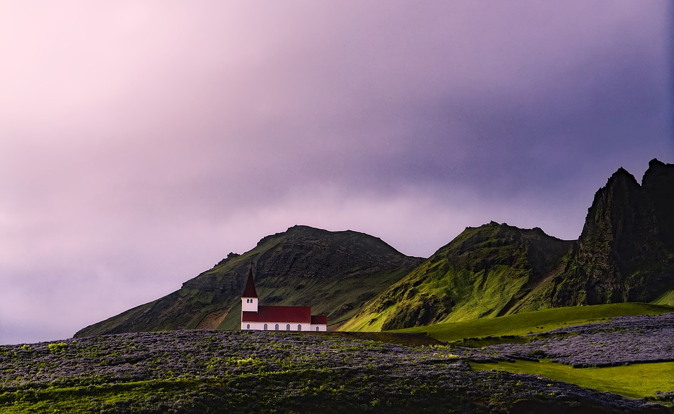 Iceland, Church, Mountains, Sky, Clouds, Sunset, Dusk