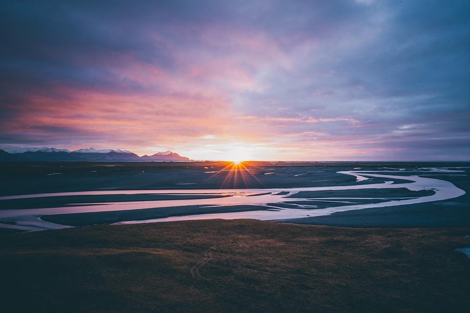 Nature, Iceland, River, Sun, Sunrise, Sunset, Golden