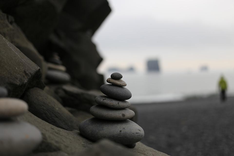 Stones Showing The Way, Beach, Iceland