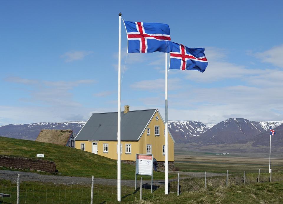 Iceland, Flags, Iceland Flag, Glaumbaer, Museum, Wide