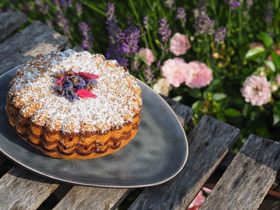 Cake, Icing Sugar, Garden, Flowers, Lavender, Delicious