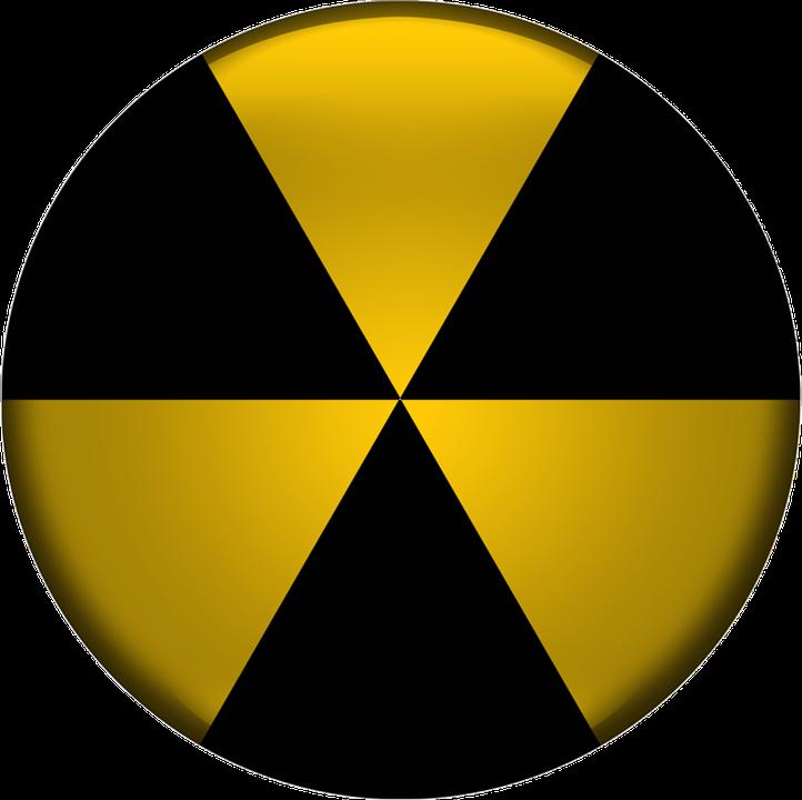 Radioactive, Icon, Design, Black, Yellow, Button, Shiny