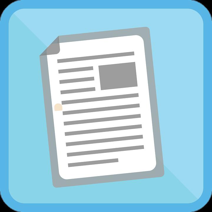 Icon, Blue, Article, News, Symbol, Internet, Button