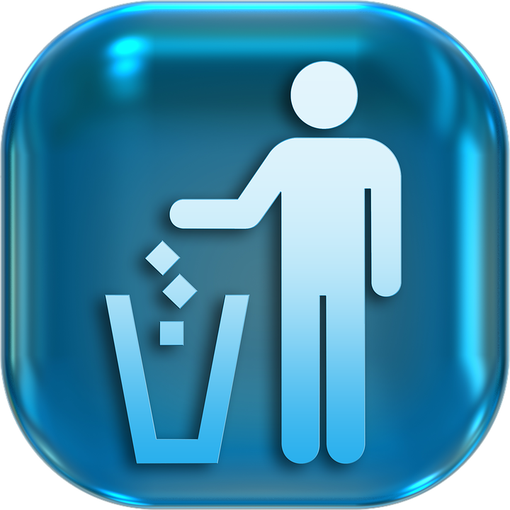 Icons, Symbols, Waste, Recycle Bin, Button, Turn On