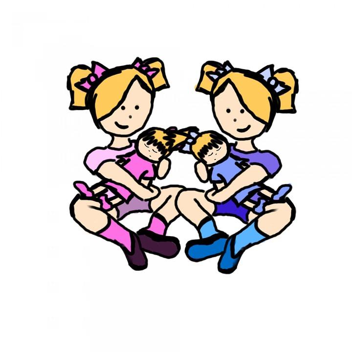 Girls, Twins, Identical Twins, Playing, Child, Children