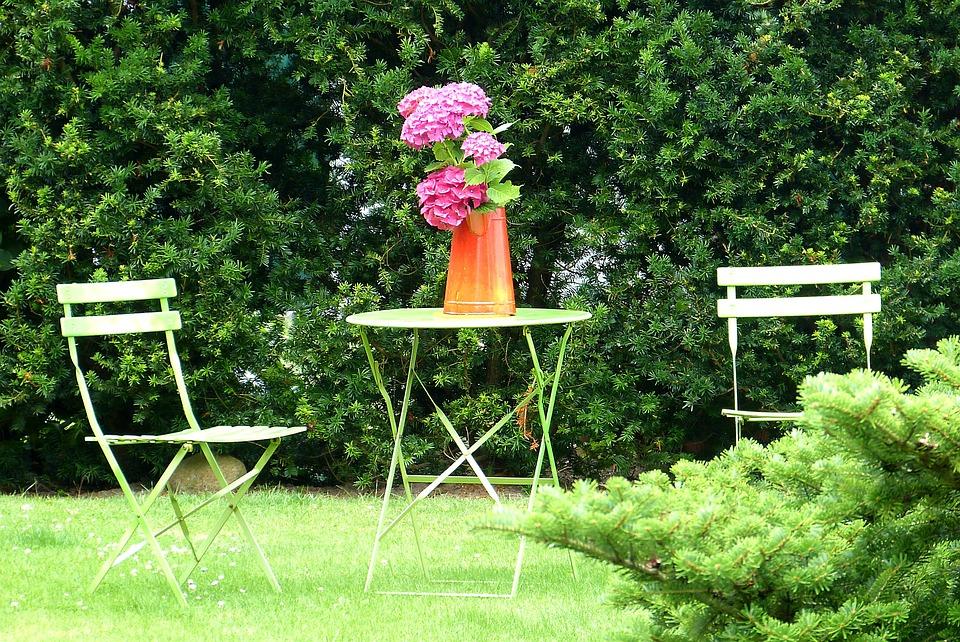 Garden, Summer, Föhr, Flowers, Green, Chair, Idyll