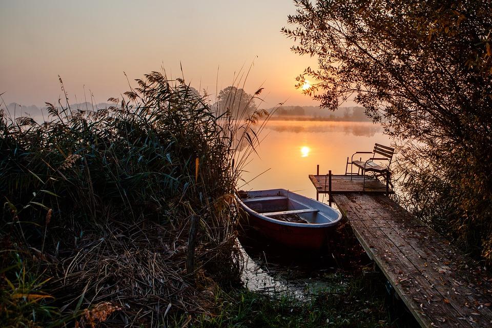 Morning, Boat, Pier, Water, Sunrise, Channel, Idyll
