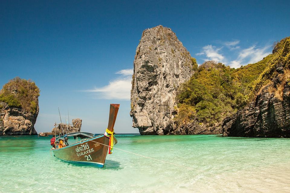 Beach, Boat, Idyllic, Island, Lagoon, Com, Ocean