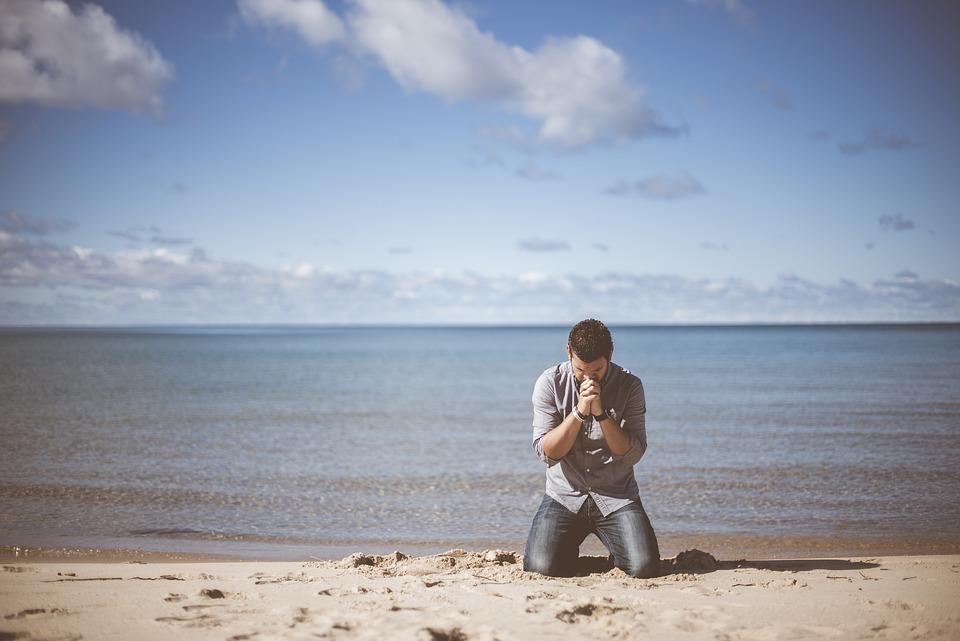 Beach, Idyllic, Man, Ocean, Peaceful, Person, Praying