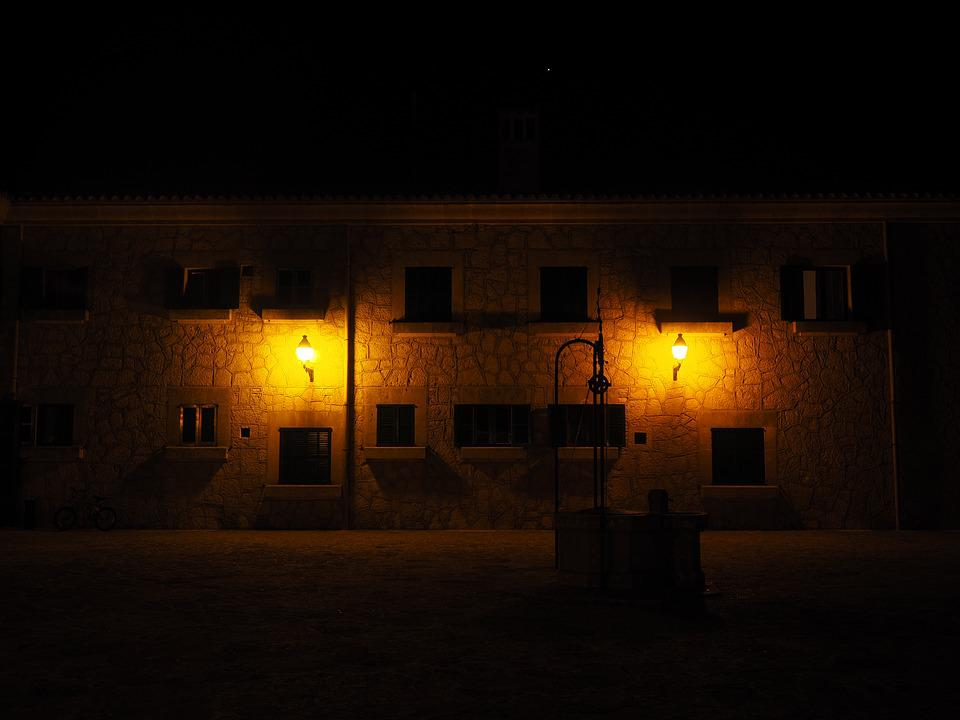 Fountain, At Night, Illuminated, Night Photograph