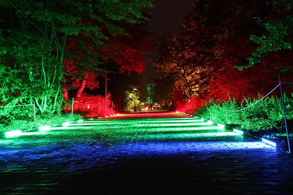 Away, Illuminated, Colorful, Light Art, At Night