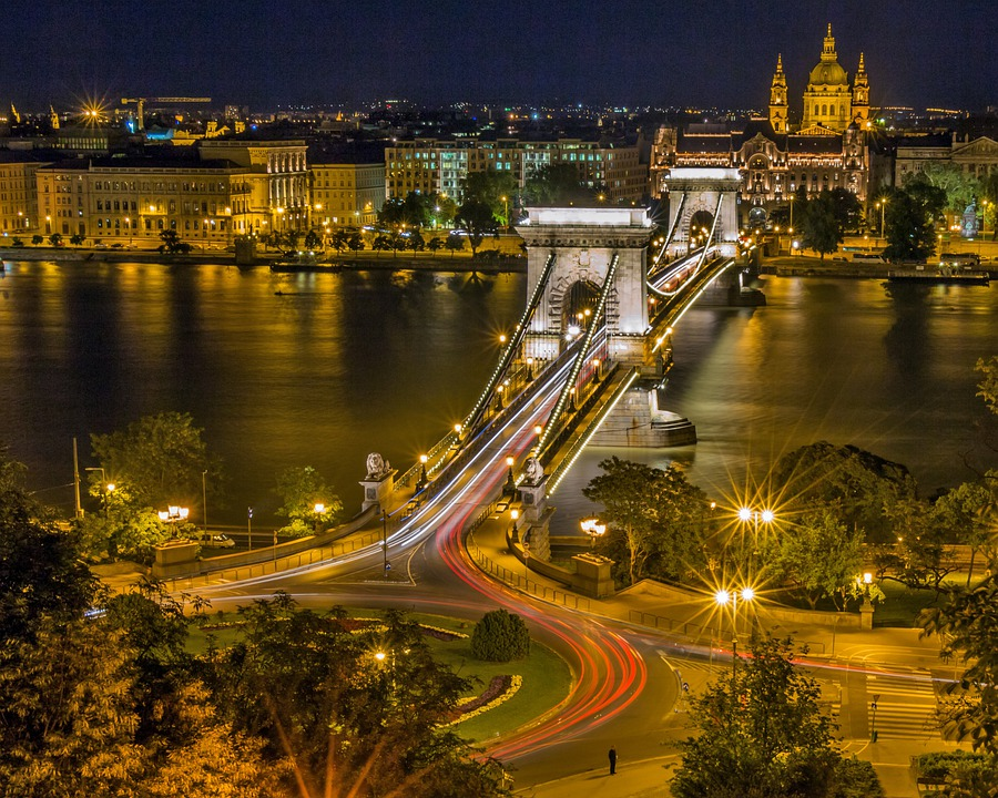 Bridge, River, City, Urban, Night, Evening, Illuminated