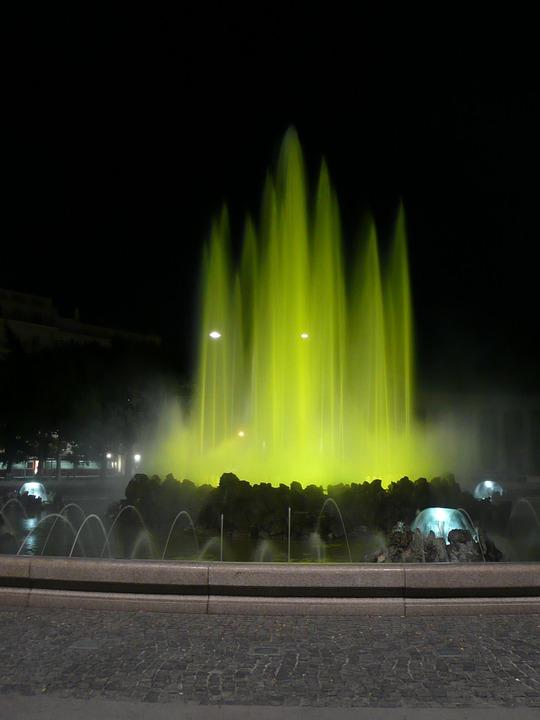 Vienna, Fountain, Water, Illuminated, Austria