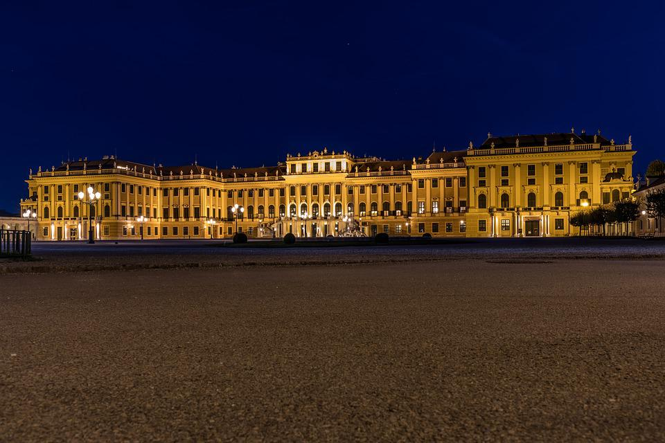 Schönbrunn, Night, Illuminated, Long Time Exposure