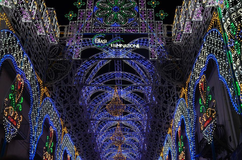 Solofra, Feast, Illuminations, Lights, Show, Colors