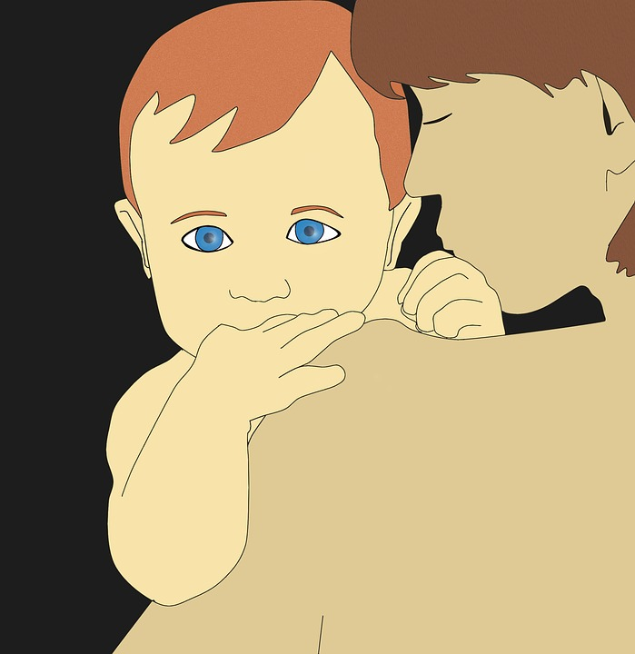 Mother And Son, Illustration, Blue Eyes
