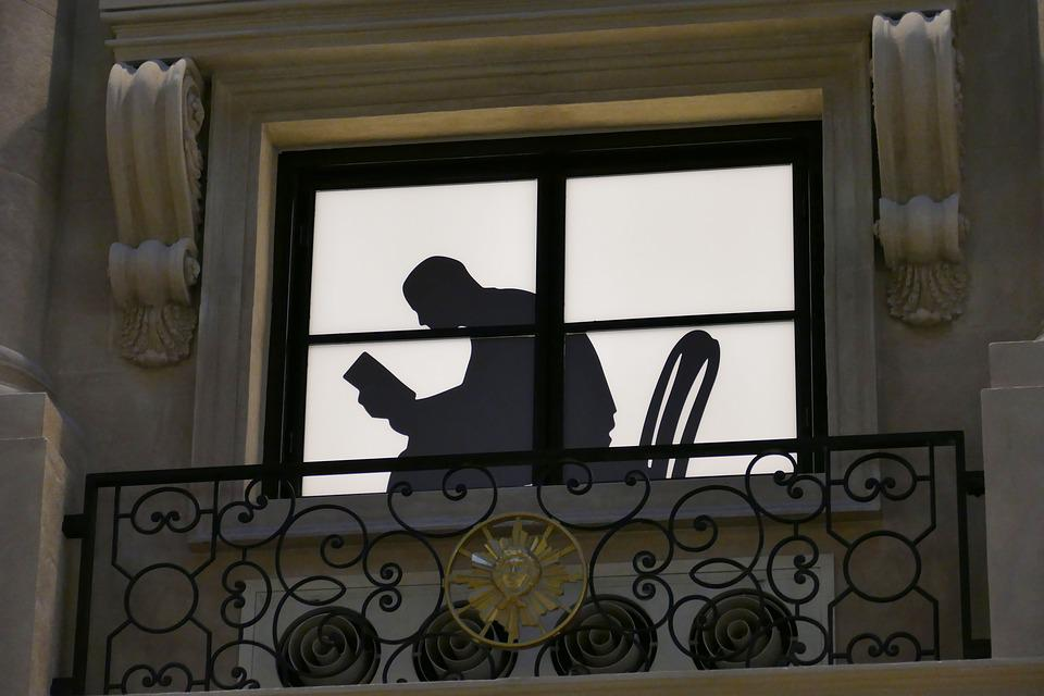 Window, Silhouette, Image, Macau, Balcony, Man, Book