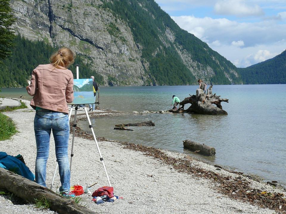 Lake, Painter, Paint, Image, Art, Colors, Country