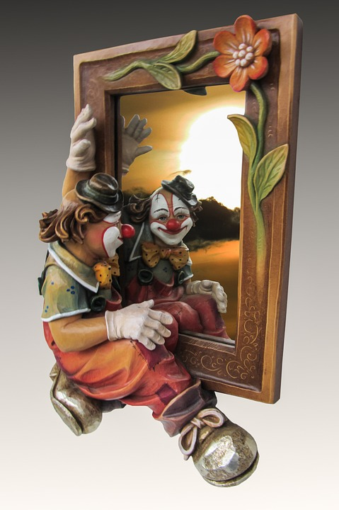 Mirror, Clown, Photomontage, Image, Picture Frame