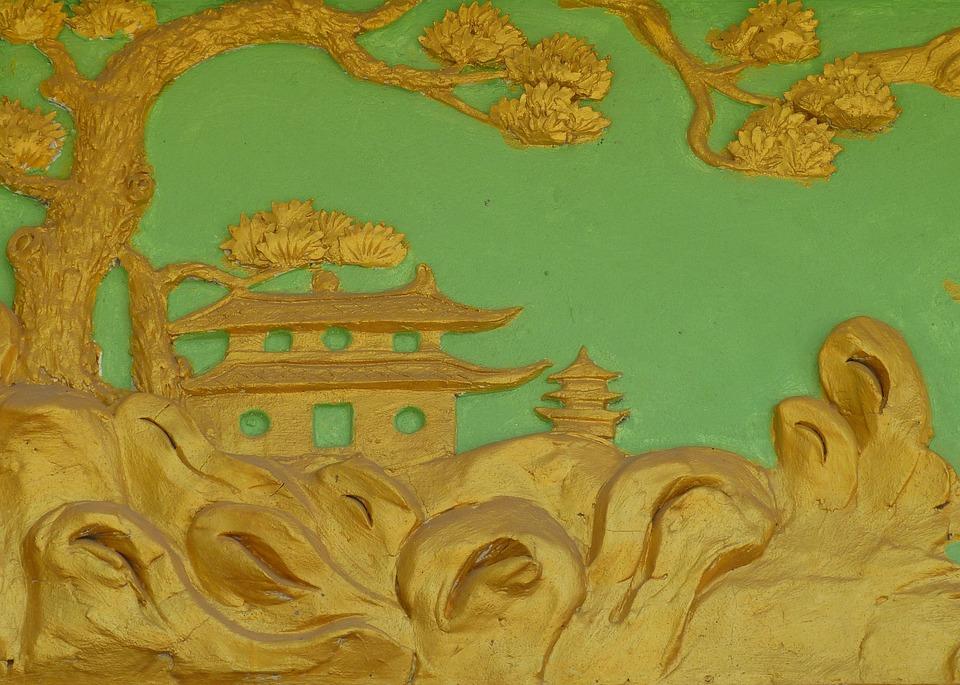 Temple, Image, Relief, Golden, Tree, Religion, Vietnam
