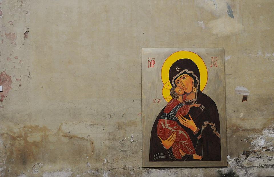 Mary, Jesus, Image, Painting, Wall, Holy, Christian