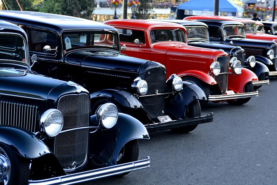Classic, Automobiles, In, A Line, Vintage, Vehicle