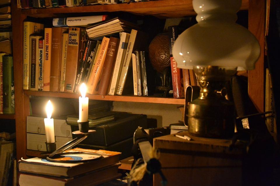 In Candlelight Lamp Bookshelf