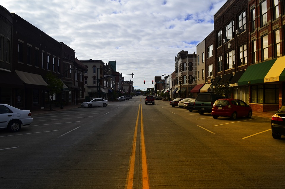 Main, Street, Usa, Elkhart, Indiana, In