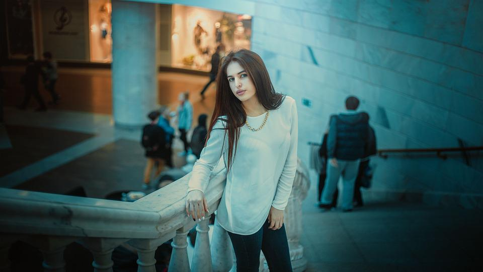 Girl, In Jacket, Posture, Model, Gum, Moscow, Russia