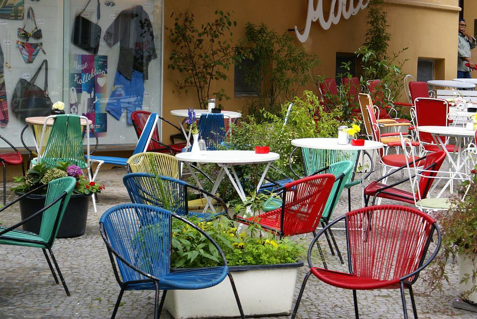 Chairs, Colorful Chairs, In The Cafe