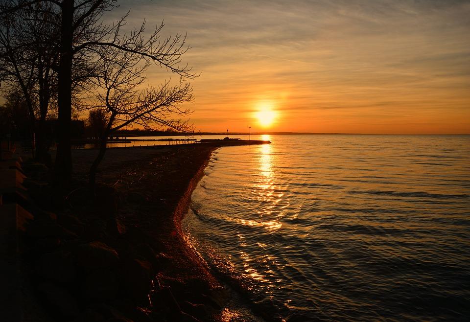 Lake Balaton, In The Evening, Lights, Nightfall, Glow
