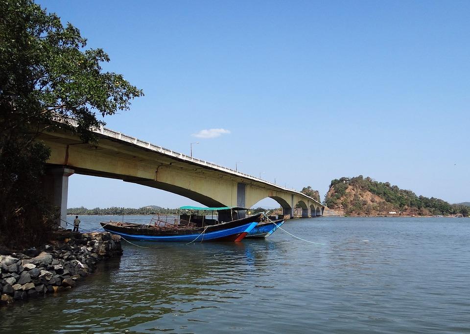Kali River, Boats, Karwar, India, Bridge, Architecture
