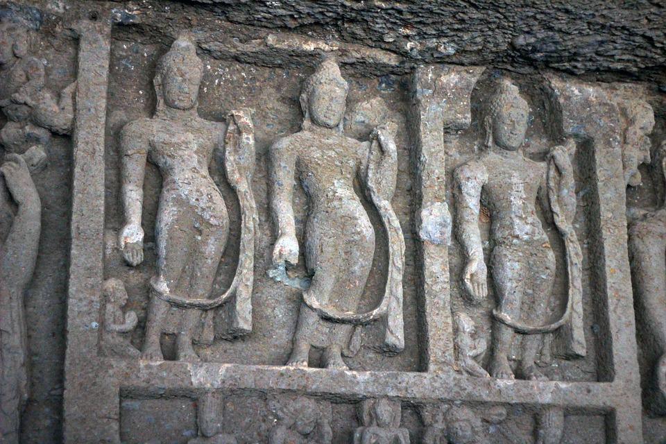 Karla Caves, Statues, Cave, Carvings, India, Statue
