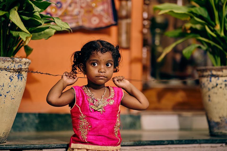 India, Child, Girl, Big Eyes, Pupils, Bright Colors