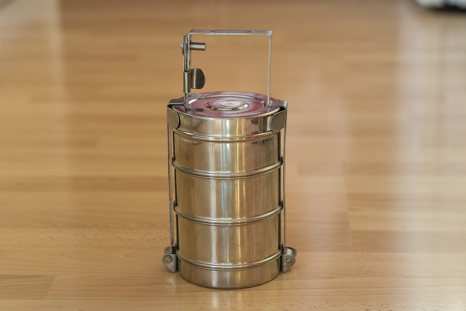 Tiffin, India, Pan, Pans, Lunch, Stainless Steel, Shiny