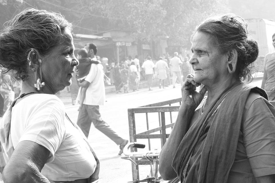 Two Women, India, Sari, Woman, Female, Two
