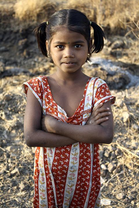 Indian Girl, Folded Arms, Portrait, Standing, Ethnic